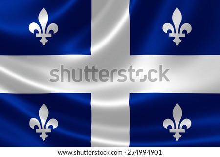 3D rendering of the Canadian provincial flag of Quebec on satin texture. - stock photo