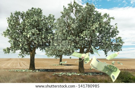3D rendering of the concept money growing on trees - stock photo