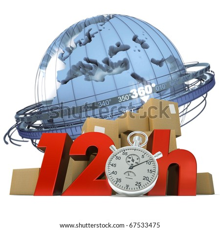 3D rendering of the Earth a pile of boxes and the words 12Hrs and a chronometer - stock photo