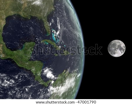 3d rendering of the Earth and the Moon - stock photo