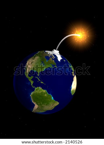 3d rendering of the earth as a bomb - stock photo