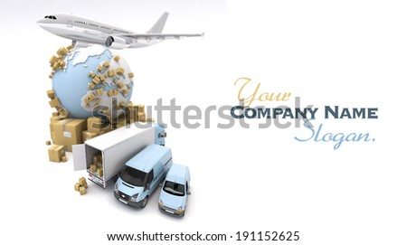 3D rendering of the Earth, cardboard boxes, a van, a truck and a flying plane - stock photo
