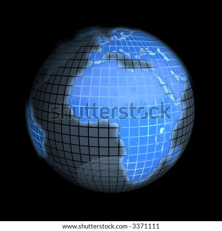 3d rendering of the earth, focus on europe and africa. check my portfolio