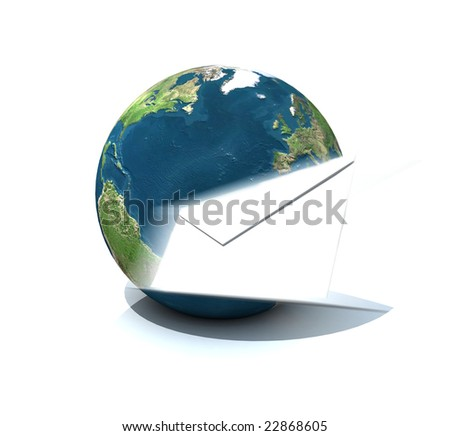 3D rendering of the Earth globe and a white envelope