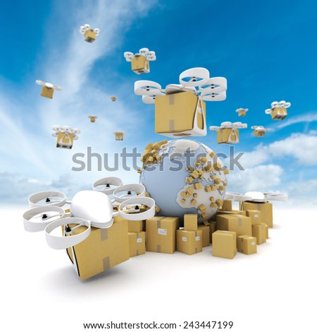 3D rendering of the Earth surrounded by boxes and a network of flying drones with packages attached - stock photo