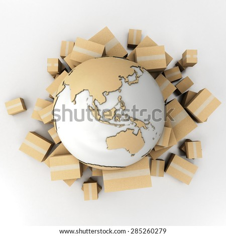 3D rendering of the Earth surrounded by boxes in cardboard texture - stock photo