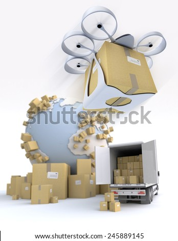 3D rendering of the Earth surrounded by cardboard boxes, a loading truck with flying drone with a package attached - stock photo