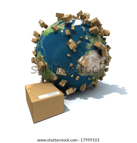 3D rendering of the Earth surrounded with cardboard boxes - stock photo