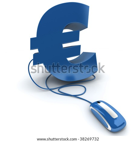 3D rendering of the Euro symbol connected to a computer mouse - stock photo