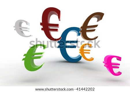 3d rendering of the euro symbols - isolated wide angle version