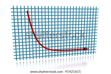 3D rendering of the exponential decay curve - stock photo