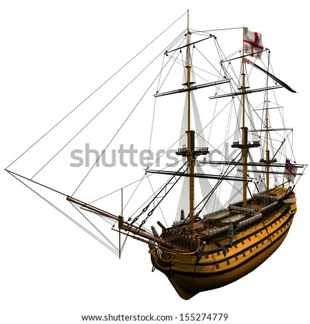 3d Rendering of the HMS Victory - stock photo