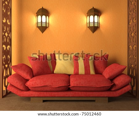 3d rendering of the interior in Morocco's style - stock photo