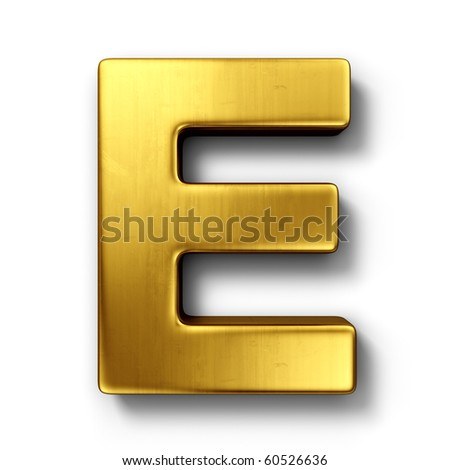3d rendering of the letter E in gold metal on a white isolated background. - stock photo
