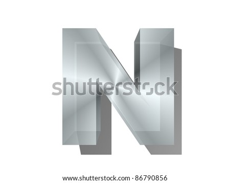 3d rendering of the letter in metal on a white isolated background.