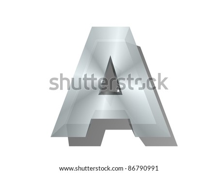 3d rendering of the letter in metal on a white isolated background. - stock photo