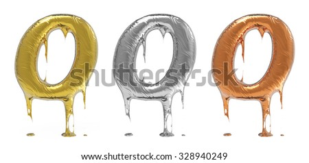 3d rendering of the letter O uppercase in gold, silver, bronze metal with drops on a white isolated background.  - stock photo