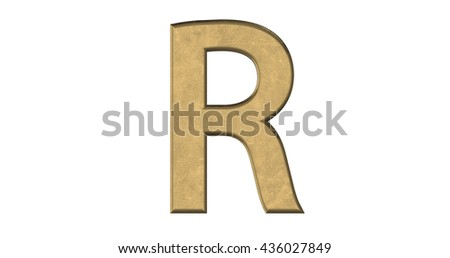 3d rendering of the letter R in brushed metal on a white isolated background