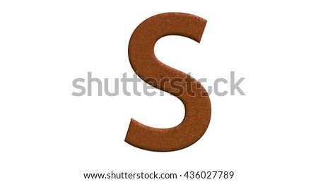 3d rendering of the letter S in brushed metal on a white isolated background