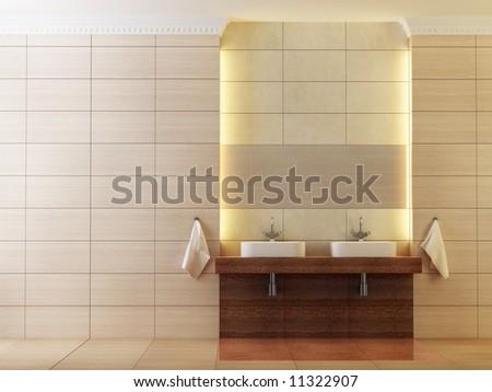 3d rendering of the modern bathroom - stock photo