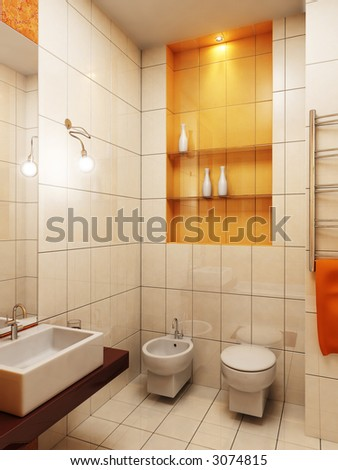 3d rendering of the modern bathroom - stock photo