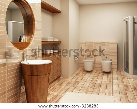 3d rendering of the modern bathroom interior - stock photo