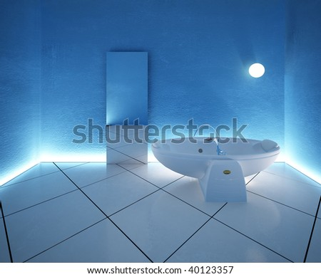 3d rendering of the modern blue bathroom - stock photo