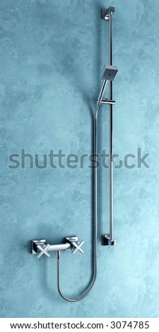 3d rendering of the modern stainless steel shower - stock photo