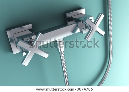 3d rendering of the modern stainless steel tap - stock photo