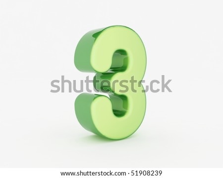 3d rendering of the number 3 - stock photo