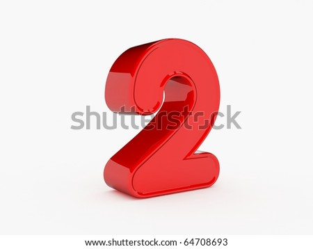 3d rendering of the number 2 - stock photo