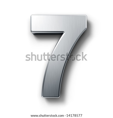 3d rendering of the number 7 in brushed metal on a white isolated background. - stock photo