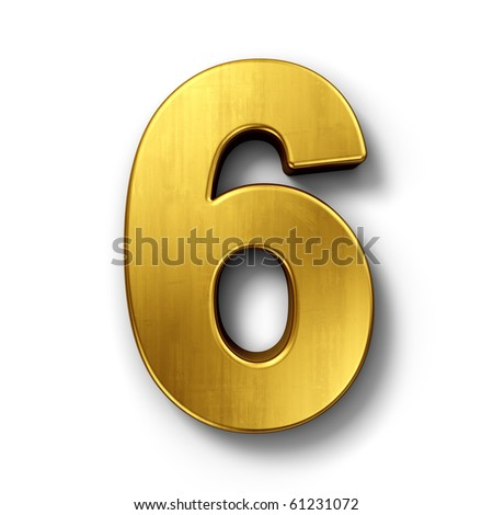 3d rendering of the number 6 in gold metal on a white isolated background. - stock photo
