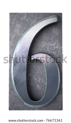 3D rendering of the number 6 in typescript print letter cases(part of a matching alphabet) - stock photo