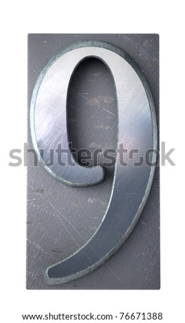 3D rendering of the number 9 in typescript print letter cases (part of a matching alphabet) - stock photo
