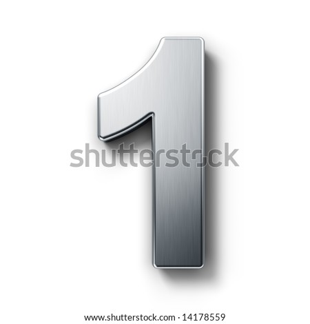 3d rendering of the number 1 on a white isolated background. - stock photo