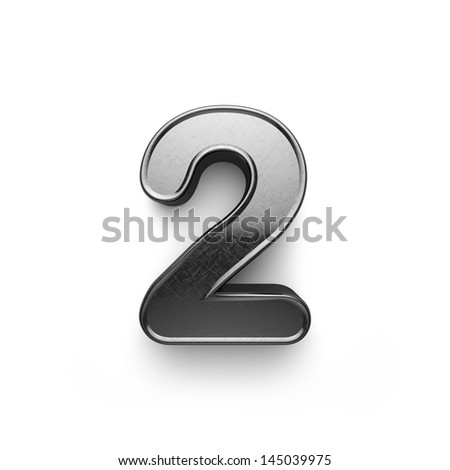 3d rendering of the number 2 scratched metal - stock photo