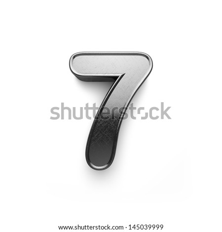 3d rendering of the number 7 scratched metal - stock photo