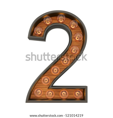 3d rendering of the number 2 with vintage light bulbs, isolated on white