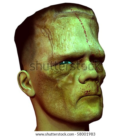 3D rendering of the profile view of a monster head - stock photo