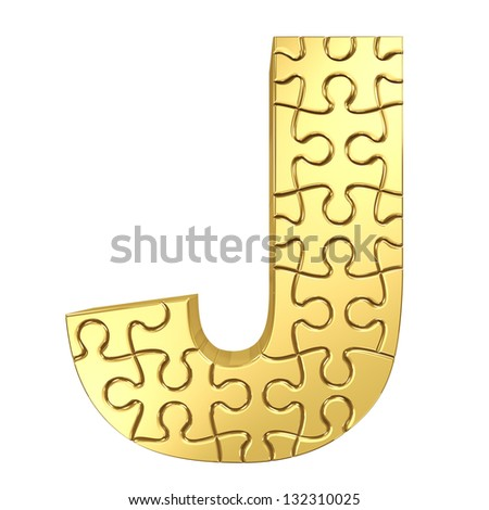 3d rendering of the puzzle letter J in gold metal on a white isolated background. - stock photo