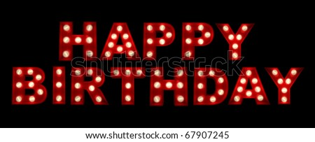 3D rendering of the sign HAPPY BIRTHDAY written in glowing letters