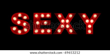 3D rendering of the sign sexy written with glowing letters - stock photo