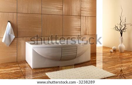 3d rendering of the stylish bathroom interior - stock photo