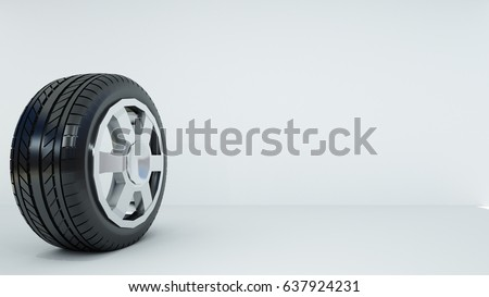 3d rendering of the tire and white background