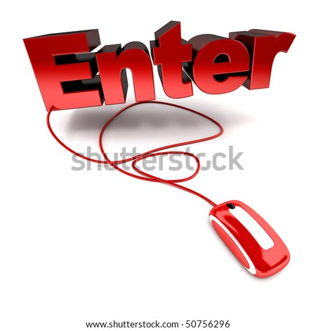 3D rendering of the word enter connected to a computer mouse