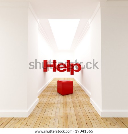 3D rendering of the word Help at the end of the corridor - stock photo