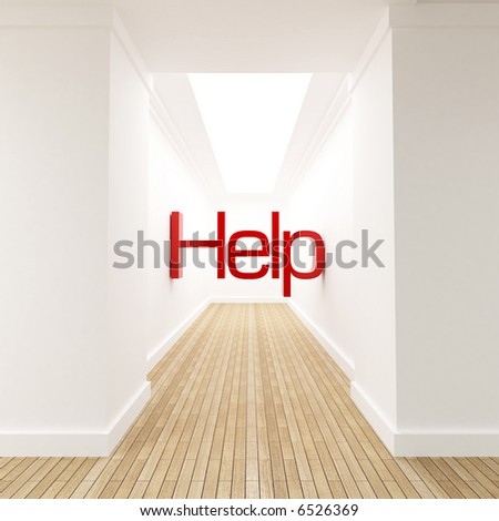 3D rendering of the word help in red letters at the end of blind corridor - stock photo