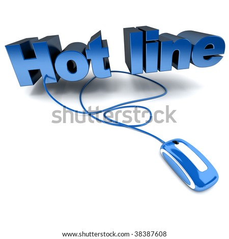 3D rendering of the word hotline connected to a computer mouse
