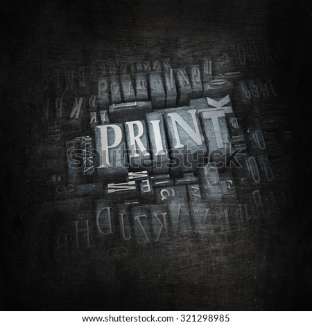 3D rendering of the word print in vintage metallic letter cases - stock photo